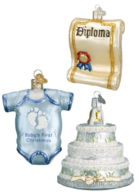 Diploma Ornament, Onesie Ornament, & Wedding Cake Ornament