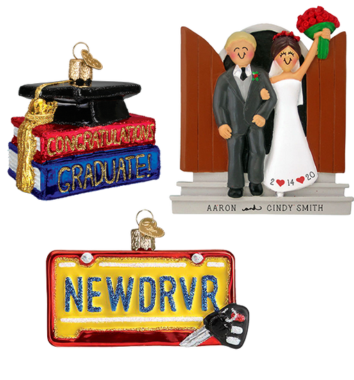 Personalized Graduation, Wedding and New Driver Christmas Ornaments