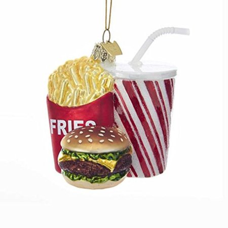 Hamburger, Fries, and Drink Fast Food Combo Glass Ornament