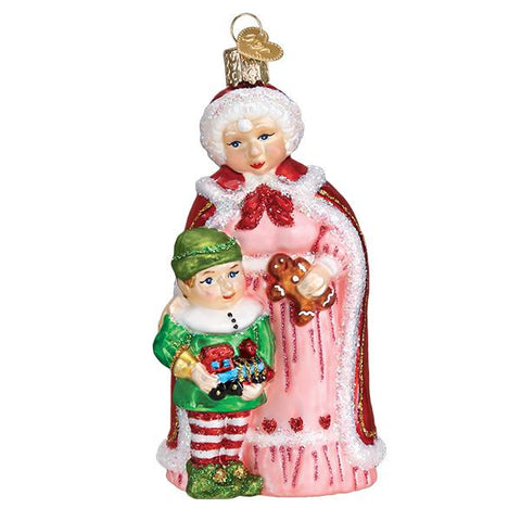 Mrs. Claus with Elf Ornament