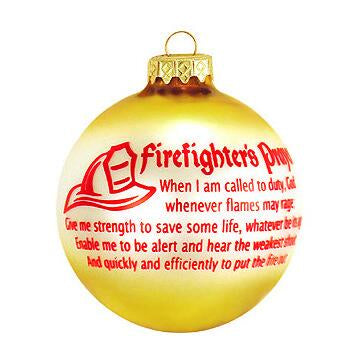 Fire Fighter Prayer Glass Ornament