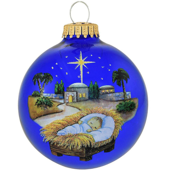 Baby Jesus In Manger Ornament Glass Christmas Ornament