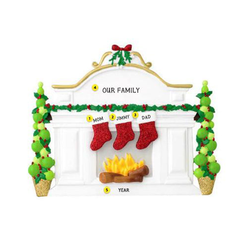 Mantel with Stockings Family of 3 Table Top Family Decoration