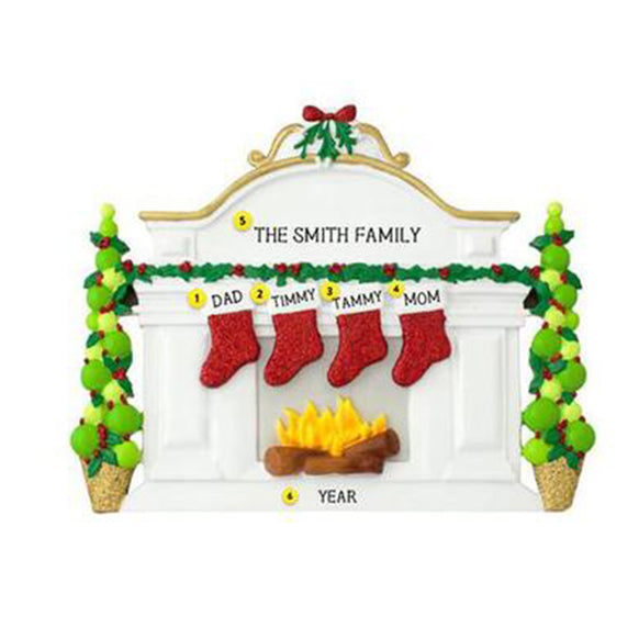 Mantel with Stockings Family of 4 Table Top Decoration