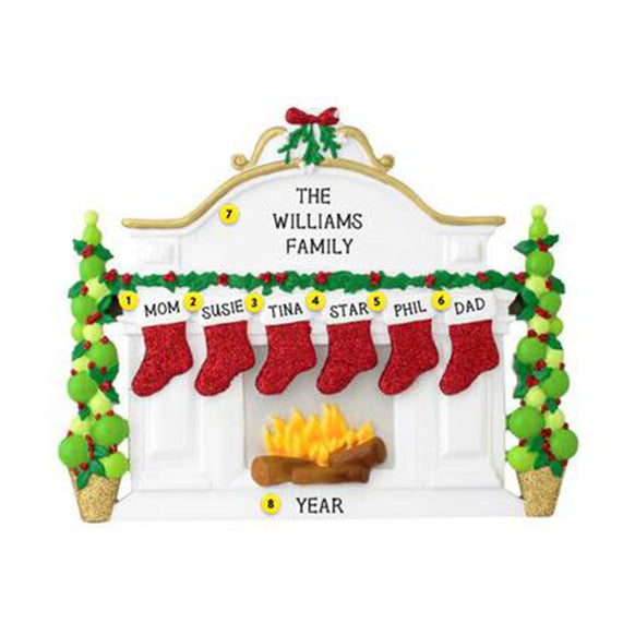 Mantel with Stockings Family of 6 Table Top Decoration