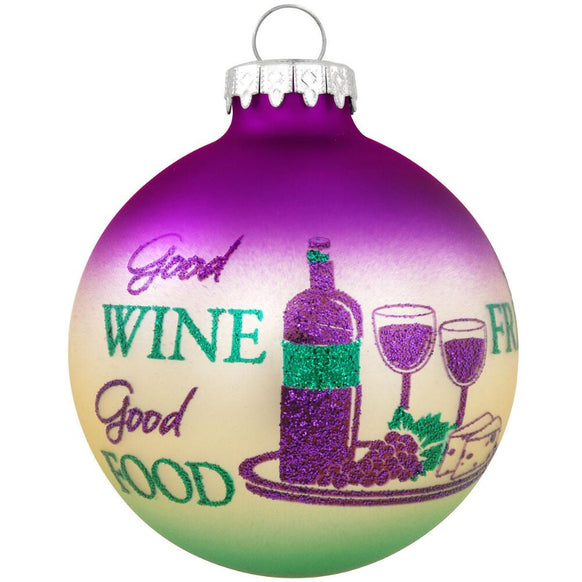 Good Wine Good Food Ornament for Christmas Tree