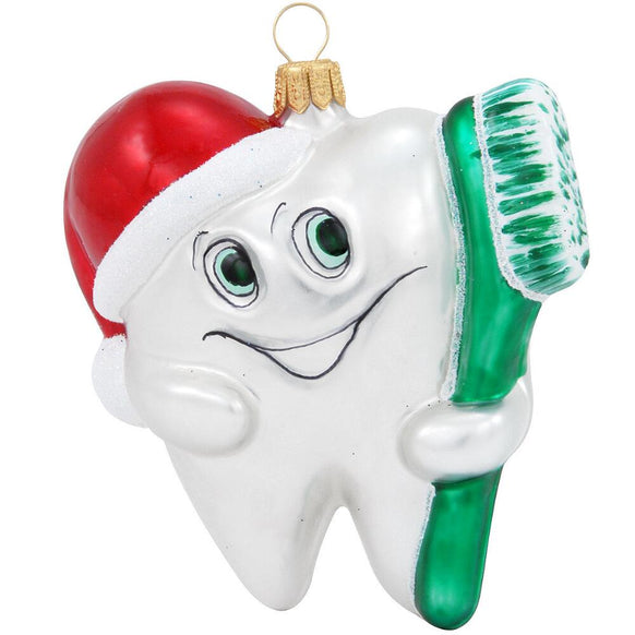 Tooth with Brush Glass Ornament | Dentist | 1st Tooth | New ...