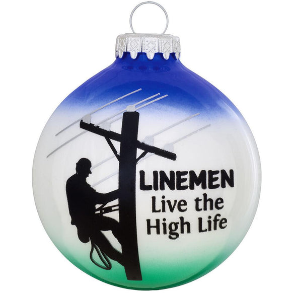 Lineman live the high life occupation glass bulb ornament