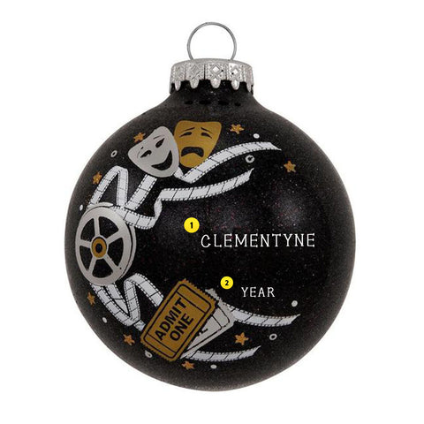 Film / Theater Admit One Personalizable black bulb ornament