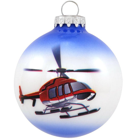 Helicopter Glass Bulb Ornament