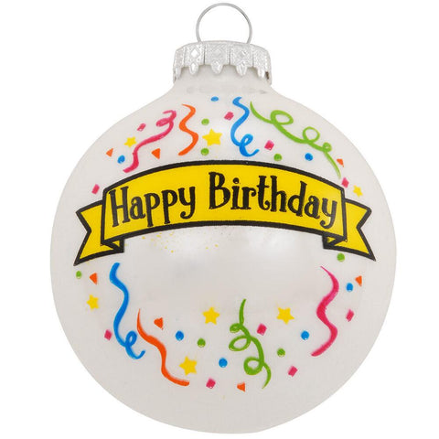 Happy Birthday Glass Christmas Ornament