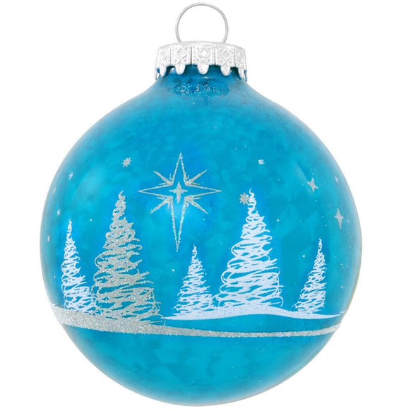Icy Blue Bulb with Silver and White Trees around it Glass Ornament