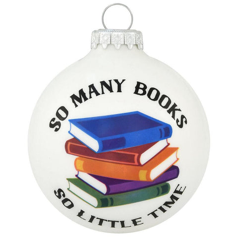 So Many Books Glass Ornament