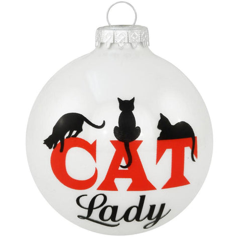 Cat Lady with three cat silhouettes glass ornament