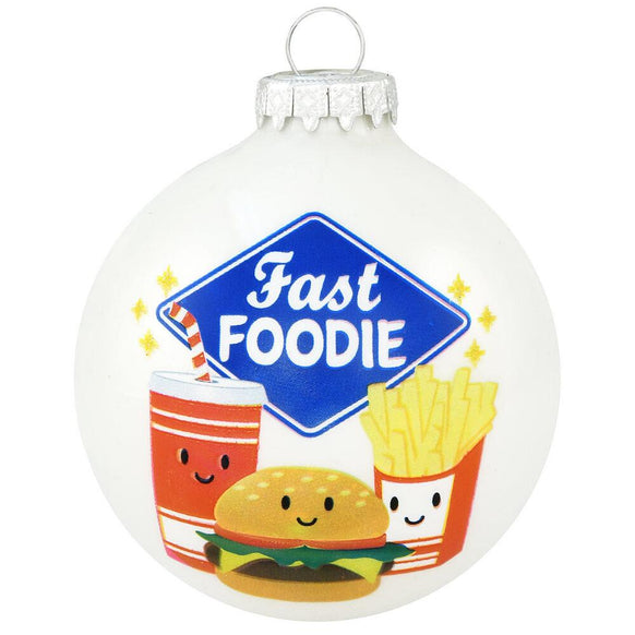 Fast Foodie Glass Ornament
