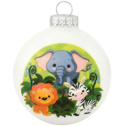 Jungle Glass Ornament - baby elephant, zebra, and lion