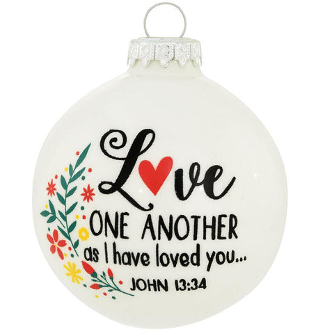 Love One Another Glass Ornament
