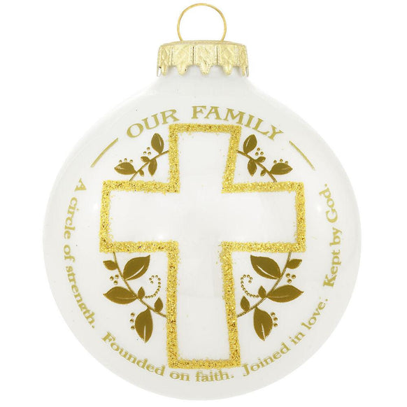 Our Family, a circle of strength. Founded on faith. Joined in love. Kept by God.  Glass Bulb Ornament