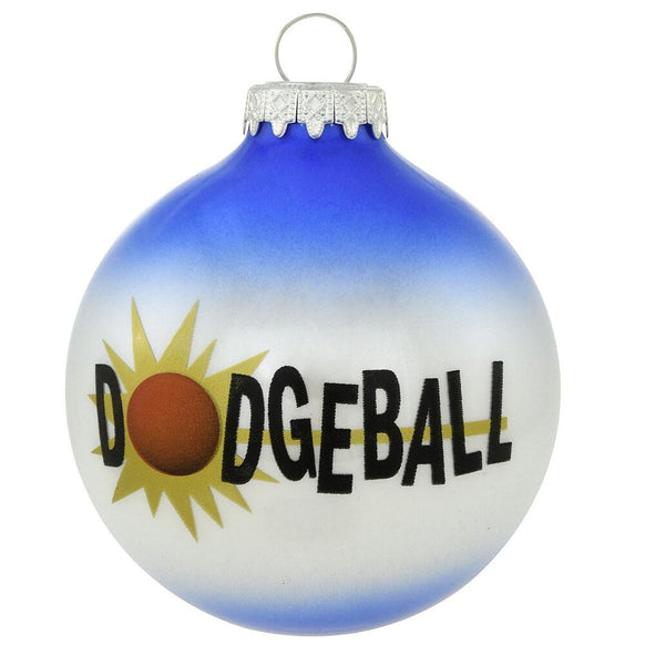 Dodgeball words across blue and white glass bulb ornament