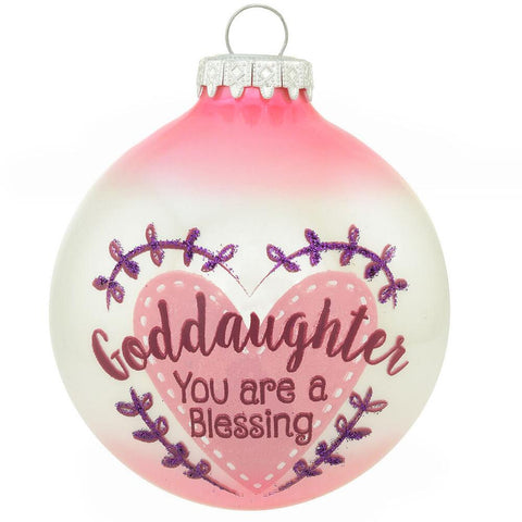 Goddaughter you are a blessing glass ornament