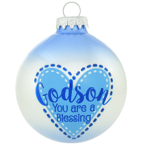 Godson you are a blessing glass ornament
