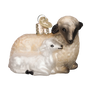 Sheep with Lamb Glass Old World Christmas Ornament
