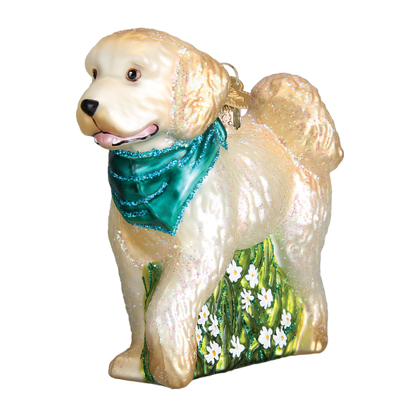 Doodle Dog Glass Old World Christmas Ornament