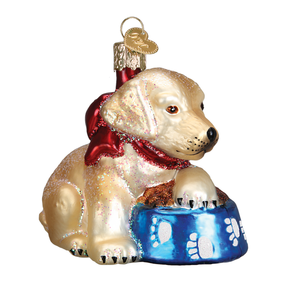 Labrador Pup Glass Old World Ornament