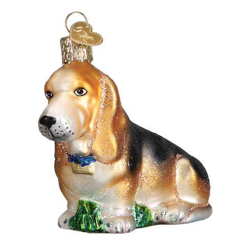 Basset Hound Glass Old World Ornament