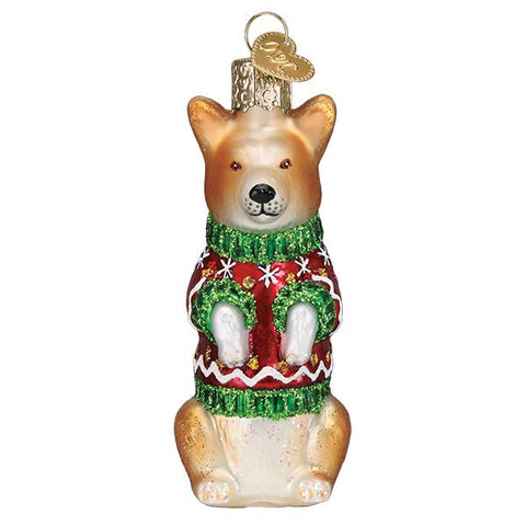 Christmas Corgi in Christmas Sweater Glass Old World Christmas Ornament