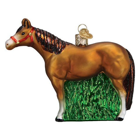 Glass Quarter Horse Christmas tree ornament