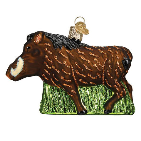 Glass Warthog Christmas tree ornament
