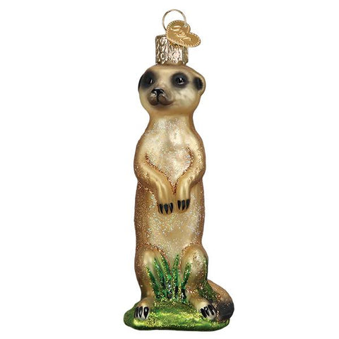 Glass Meerkat Christmas tree ornament