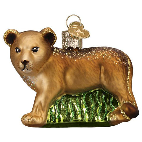 Glass Lion Cub Christmas tree ornament