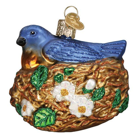 Glass Blue Bird in Nest Christmas tree ornament