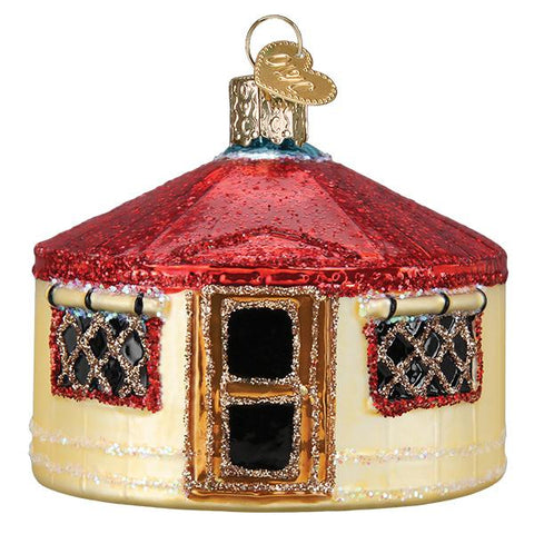 Glass Yurt Christmas tree ornament