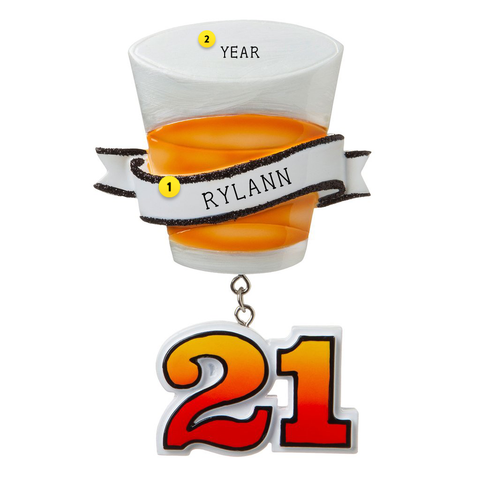 21st Birthday Beer Pint Glass Ornament