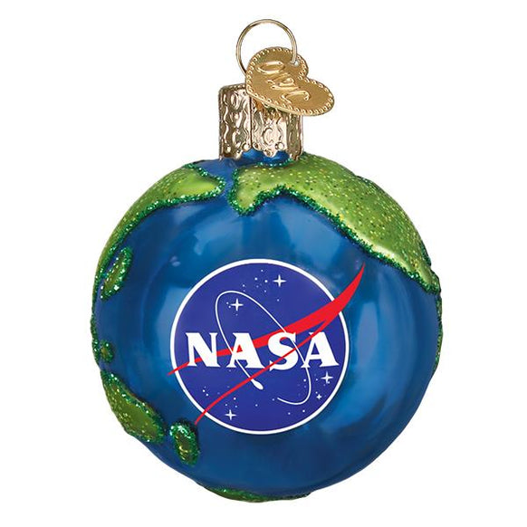Nasa Earth Glass Christmas Ornament