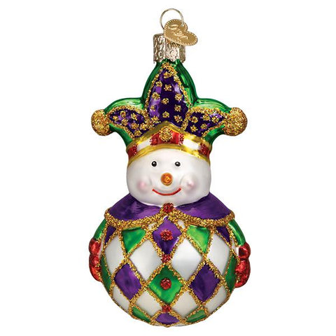Glass Harlequin Snowman Christmas tree ornament