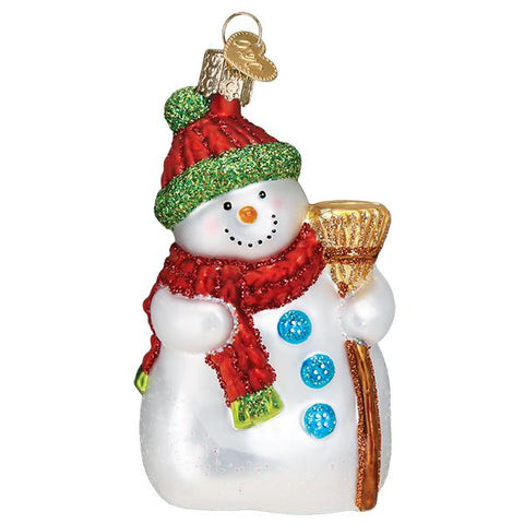 Glass Snowman with Broom Christmas tree ornament