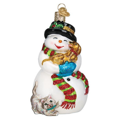 Glass Snowman with Playful Pets Christmas tree ornament