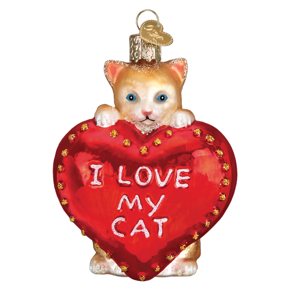 I Love My Cat Heart Ornament