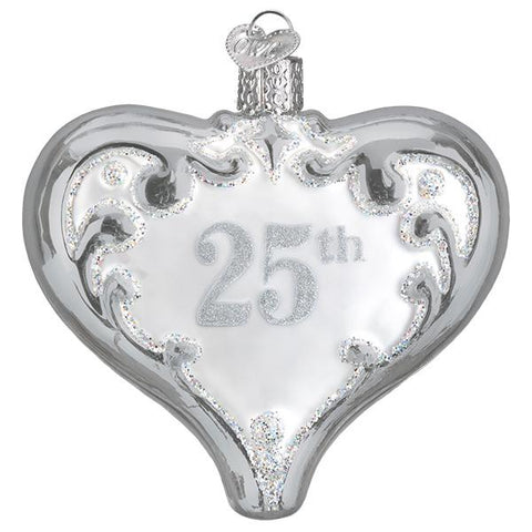 Beautiful 25th anniversary glass heart ornament