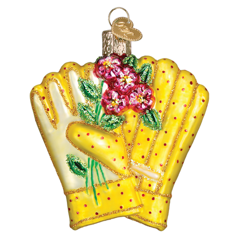 Garden Gloves with Flowers Blown Glass Christmas Ornament