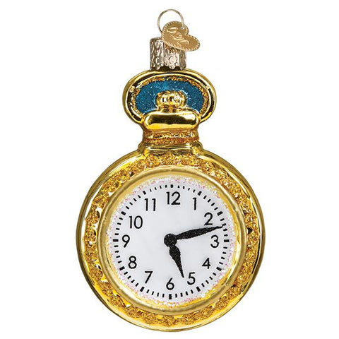 Glass Pocket Watch Christmas tree ornament
