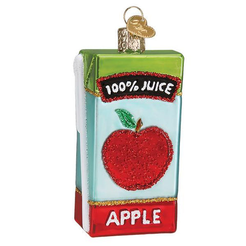 Glass Apple Juice Box Christmas tree ornament