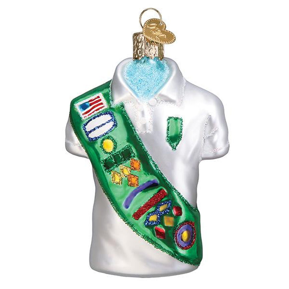 Glass Girl Scout Uniform Christmas Tree Ornament for your tree