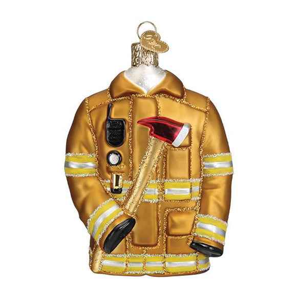 Glass Firefighter's Coat Ornament for your Christmas tree