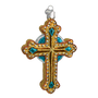 Jeweled Cross Ornament Blown Glass Christmas Ornament