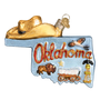 State of Oklahoma glass Christmas ornament for your tree
